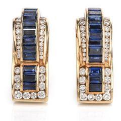 C. Krypell Diamond Sapphire 18K Gold Earrings