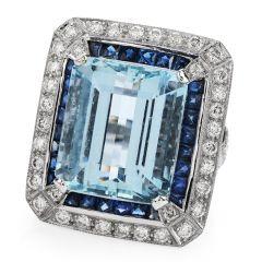 Estate Aquamarine Diamond Sapphire 18K Gold Cocktail Ring