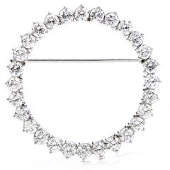 Vintage 3.00 Carats Diamond Wreath Platinum Round Brooch Pin