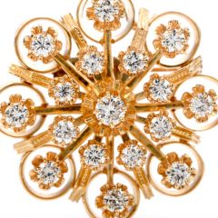 Estate Diamond 14K Yellow Gold Open Flower Brooch Pin Pendant