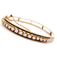 vinatge Diamond Black Enamel 14K Gold Bangle Bracelet