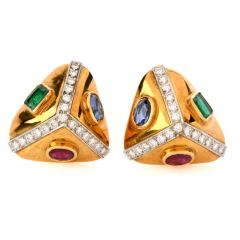Vintage Diamond Sapphire Ruby Emerald 18K Gold Triangle Earrings