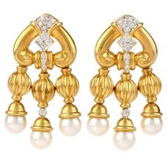 Estate Diamond Pearl 18K Gold Chandelier Drop Earrings