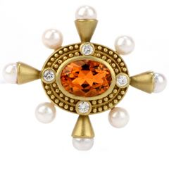 Estate Diamond Citrine & Pearl 18K Gold Oval Pin Brooch