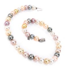 Estate Multi Tone Pearl 18K White Gold 18 Inch Necklace