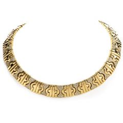 Estate 1980's Stylish 18K diamond Gold Parenthese Style Necklace