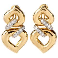 Italian Double Heart Diamond 18K Clip On Earring