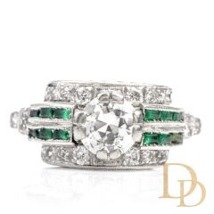Antique 1920s Diamond Emerald Platinum Engagement Cocktail Ring
