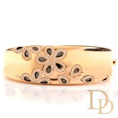 Roberto Coin Fantasia Diamond Daisy 18K Wide Cuff Bangle Bracelet