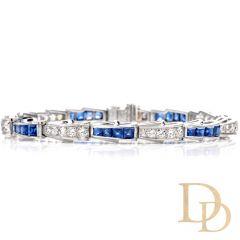 Estate Diamond Sapphire 14K Serpent Motif Bracelet
