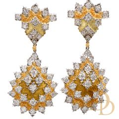Buccellati Diamond Platinum/18K Dangle Drop Omega Clip Earrings