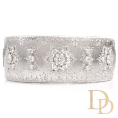 Mario Buccellati Opera Rigato Vintage Diamond 18K Cuff Bangle Bracelet