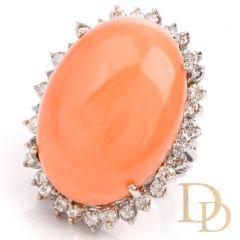 Estate Large Pink Coral Diamond 14K Cocktail Statement RIng