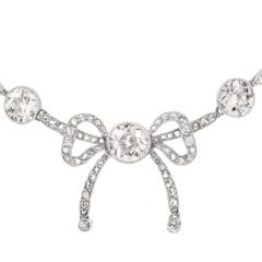 Antique Diamond Ribbon of Love Platinum Choker Necklace