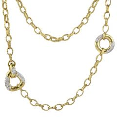 Estate Diamond 18K Yellow Gold 32-Inch Long Textured Necklace