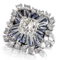Vintage Art Deco Diamond Sapphire Square Pinwheel Platinum Cocktail Ring