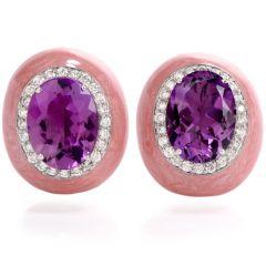 Estate Diamond Amethyst Enamel 18K Gold Clip On Earrings