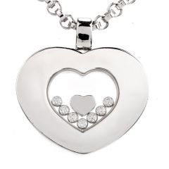 Chopard Happy Diamond Heart 18K White Gold 23 Inch Pendant Necklace