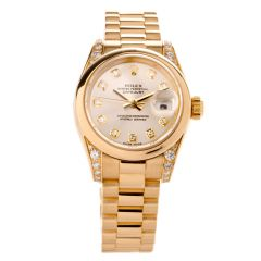Rolex President Datejust 26mm Ladies 18K Gold Watch
