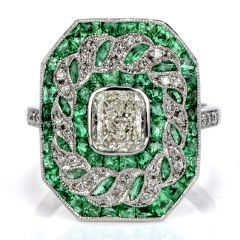 GIA Estate Diamond & Emerald Radiant Platinum Ring