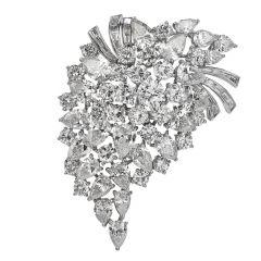 Van Cleef  Vintage 22.05cts Diamond Platinum Brooch Pin Pendant