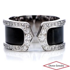 "Cartier ""Double C"" Diamond &18K White Gold Black Open Band Ring"