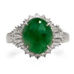 GIA 3.08 carat Green Jade Diamond Platinum Ballerina Ring