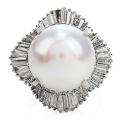 Estate 2.74ct Diamond High Quality South Sea Pearl Platinum Ballerina Cocktail Ring