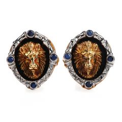 Vintage Blue Sapphire 18K Gold Lion Head Enamel Men's Cufflinks