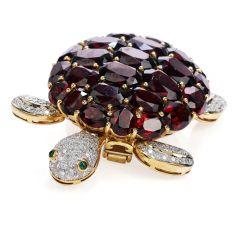 Estate Diamond Garnet Emerald 18K Gold Turtle Large Brooch Pin