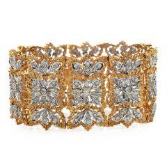 Estate Rigato Diamond Wide 18k Gold Bracelet