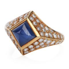 Vintage Certified Burma Natural No-Heat Sapphire diamond Ring