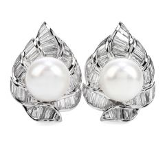 Estate Diamond 14 mm South Sea Pearl Platinum Floral Clip On Earrings