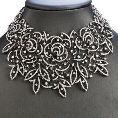 Stefan Hafner 27.70cts Diamond Lace 18k White Gold Necklace Retail $216,000.00