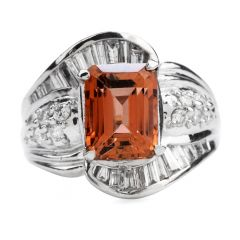 Statement Imperial Topaz Diamond  Platinum Cocktail Ring
