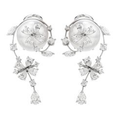 Stefan Hafner Diamond South sea Pearl 18K Gold Floral Earrings