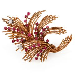 Retro Diamond Ruby 18K Gold Parisian Rope Bouquet Brooch Pin