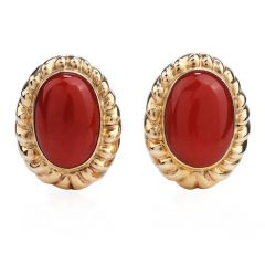 Vintage Retro Red Coral Yellow Gold clip on Earrings