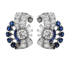 Vintage YARD Diamond Blue Sapphire Platinum Retro Clip On Earrings