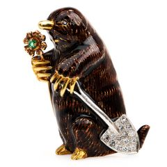 Vintage Designer Diamond Emerald 18K Gold Enamel Mole Shovel Pendant