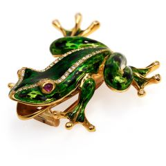 Italian Diamond Ruby 18K Gold Green Enamel Frog Brooch Pin