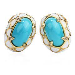 Vintage Diamond GIA Turquoise 18K Gold Enamel Clip On Earrings