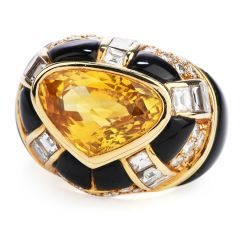 GIA 7.80 carats Yellow Sapphire Diamond Onyx 18K Gold Heart Retro Cocktail Ring