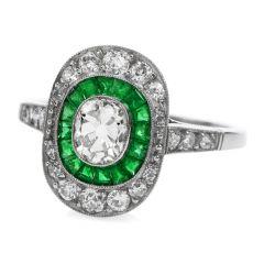 Deco Old Cushion Diamond Emerald Platinum Engagement Ring
