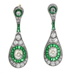 Deco Cushion Old Diamond Emerald Dangle Earrings