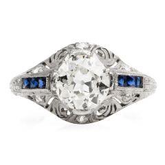 Estate Diamond Opal Platinum Cocktail Ring