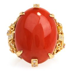 GIA Natural Red Coral Diamond Sapphire 18K Gold Geometric Cocktail Ring