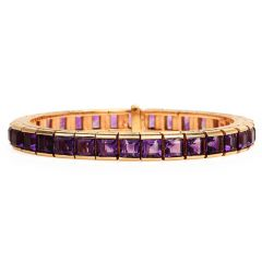 Retro 16.00ct Amethyst 14K Yellow Gold Square Line Link Bracelet