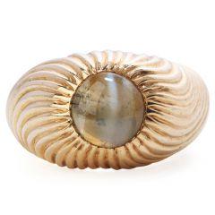 Retro Vintage Chrysoberyl Cats Eye 18K Gold Textured Men Ring