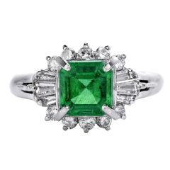 GIA Natural No Oil Emerald Diamond Platinum Ballerina Ring